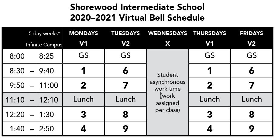 SIS Virtual Bell Schedule