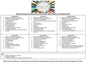 2021-2022 BFES School Supply List