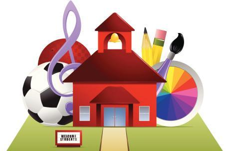 Weekly specials: art,  schoolhouse, soccer ball, art palette and musical notes