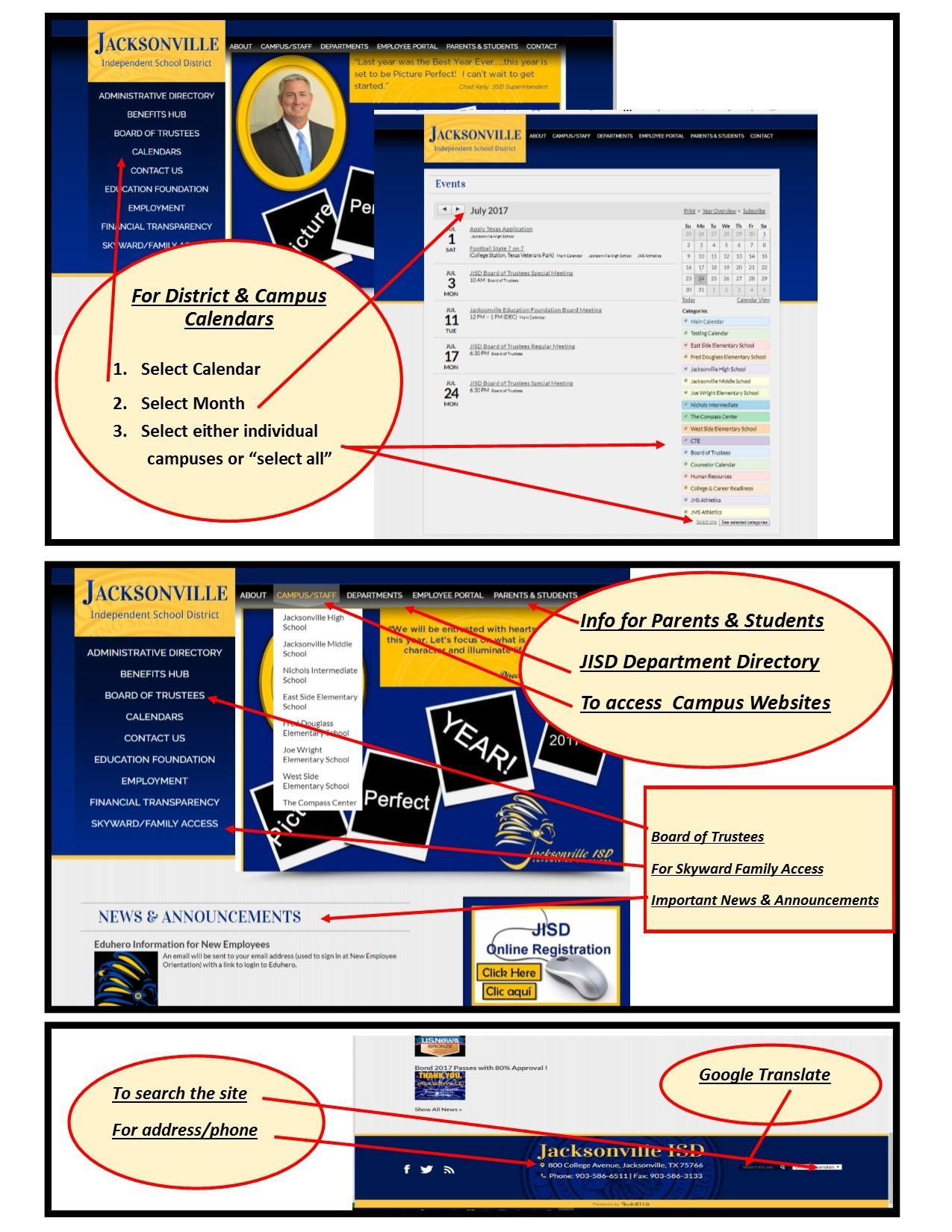 picture of the home webpage with instructions