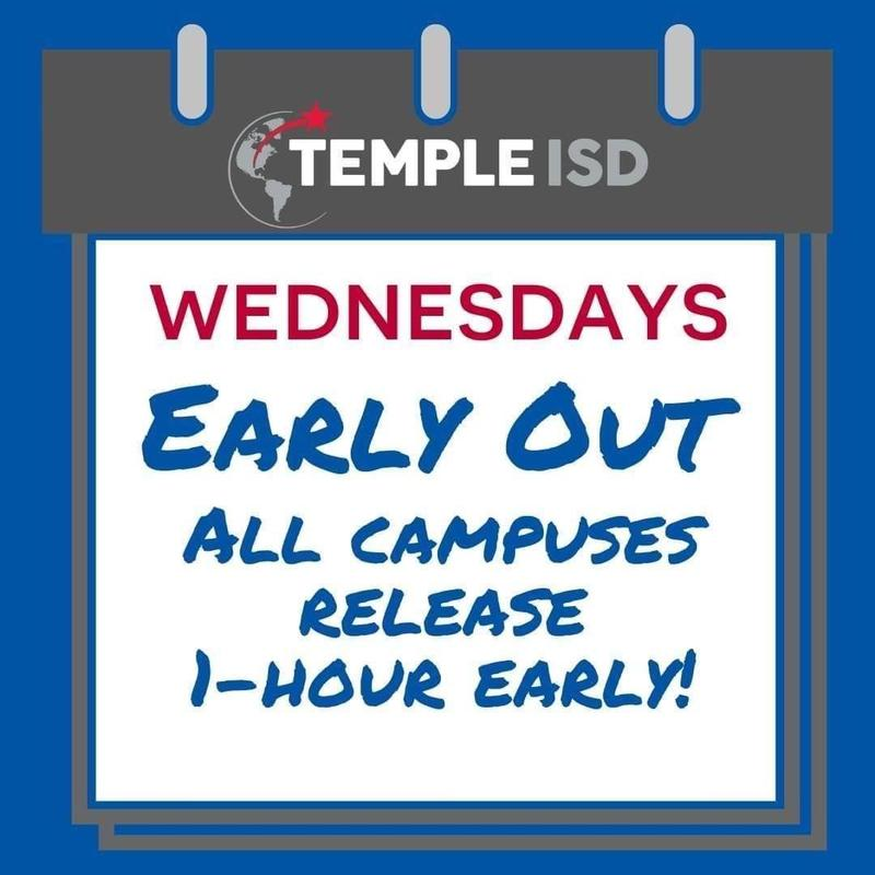 Temple ISD will release 1 hour early on Wednesdays starting October 21st Featured Photo