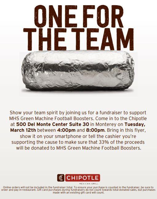 Football Fundraiser - Chipotle