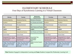 Elementary Schedule: Four Days of Synchronous Learning in a Virtual Classroom