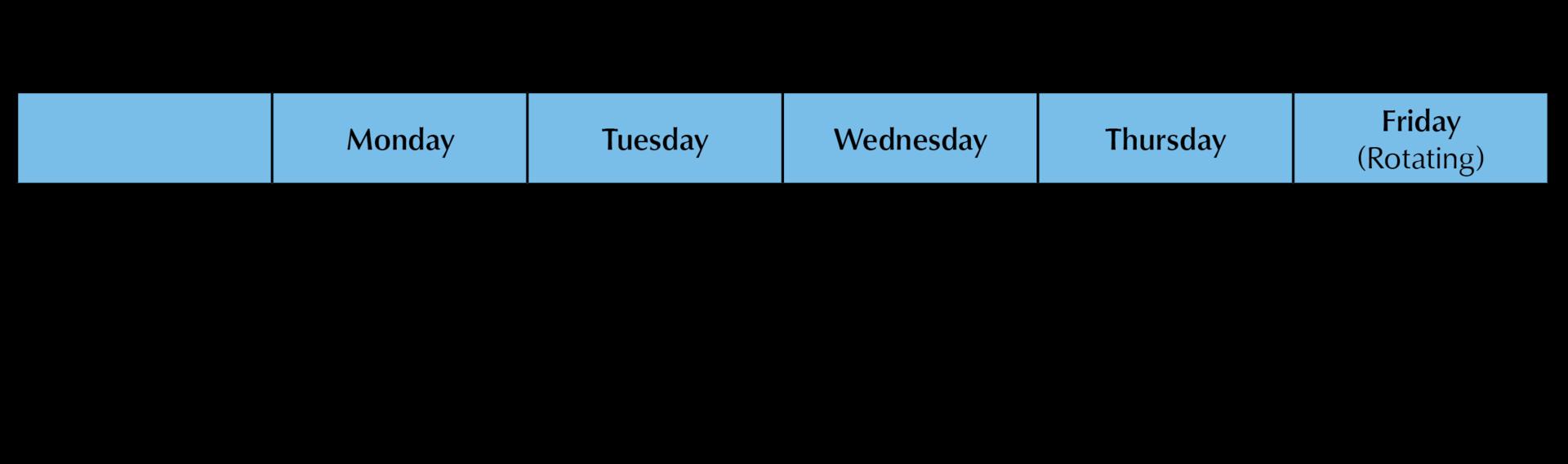 Sample ICA Cristo Rey Work Study Job Schedule 2019-2020