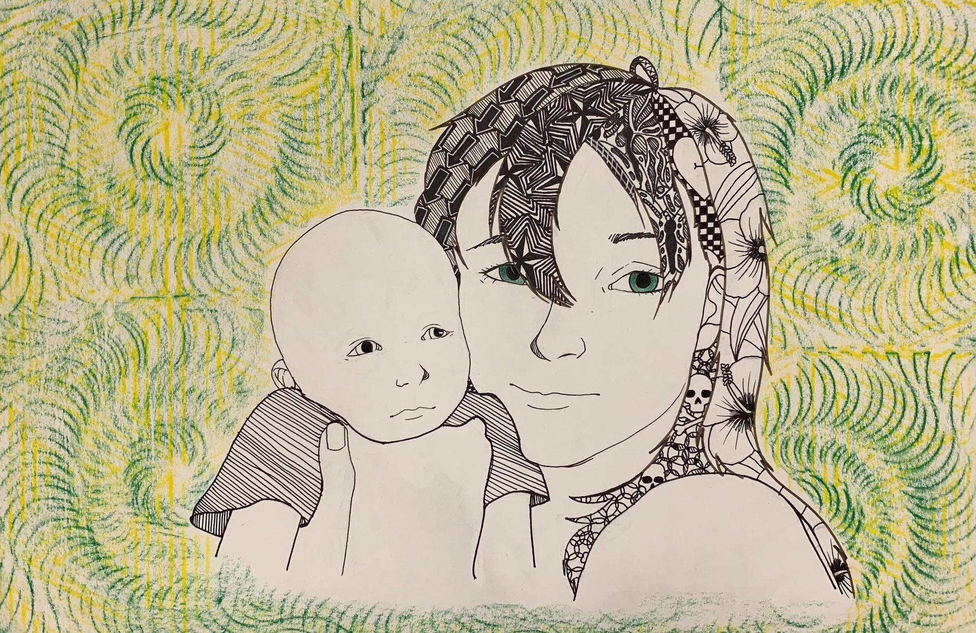 Drawing of a mother and child