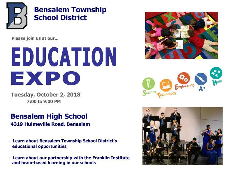 Flyer advertising our Education Expo. Included is a photo of 4 children laying on a colorful carpet reading and another picture of members of Jazz Band performing