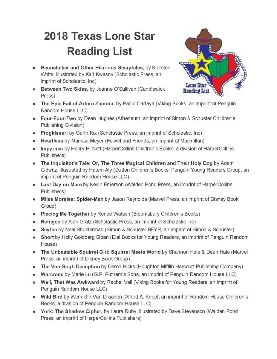 a list of the books chosen for the 2018 Lone Star Reading List