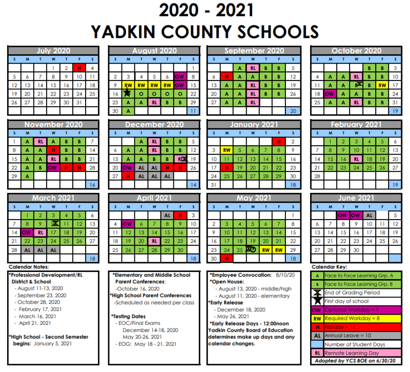 Yadkin County Schools A & B Day Schedule Thumbnail Image