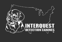 Interquest Detection Canines logo - black background, white outline of USA, and dog