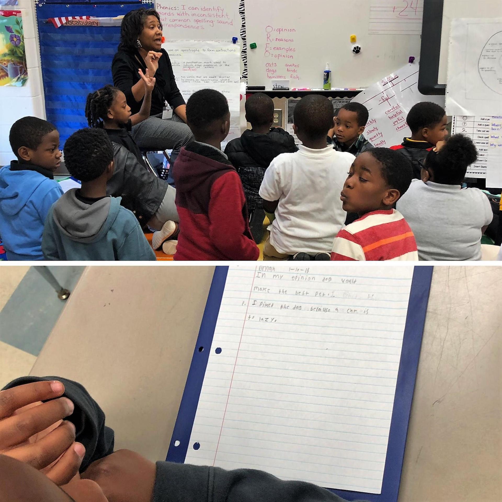 Children participating in writer's workshop