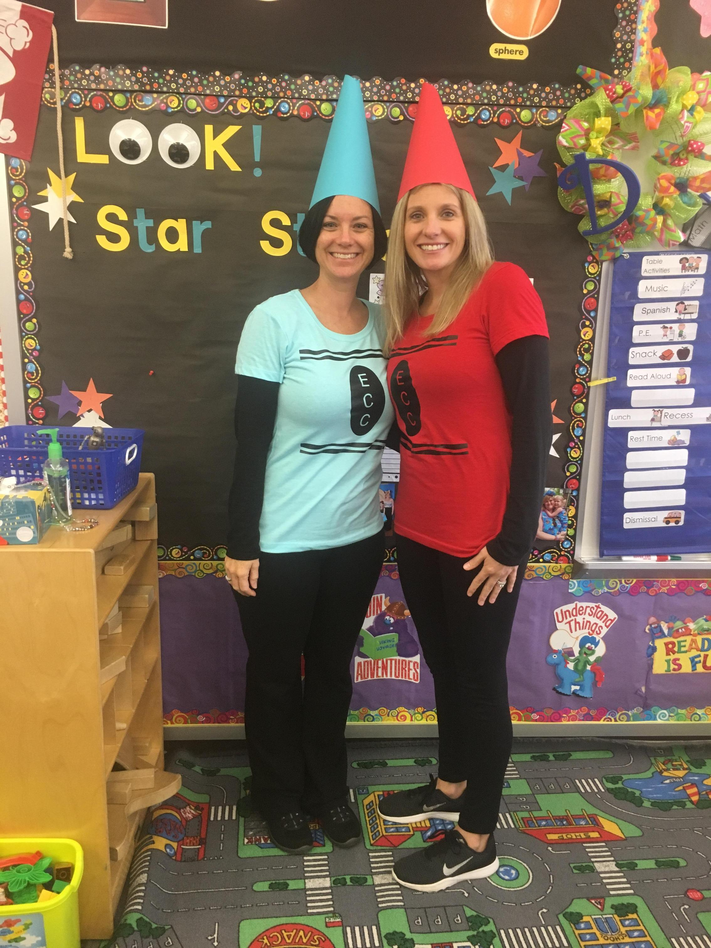 Mrs. Duffy and Mrs. S Halloween costumes