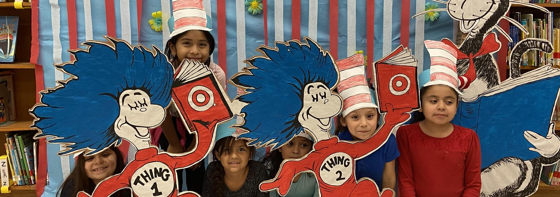 First graders pose with Dr. Seuss and friends!