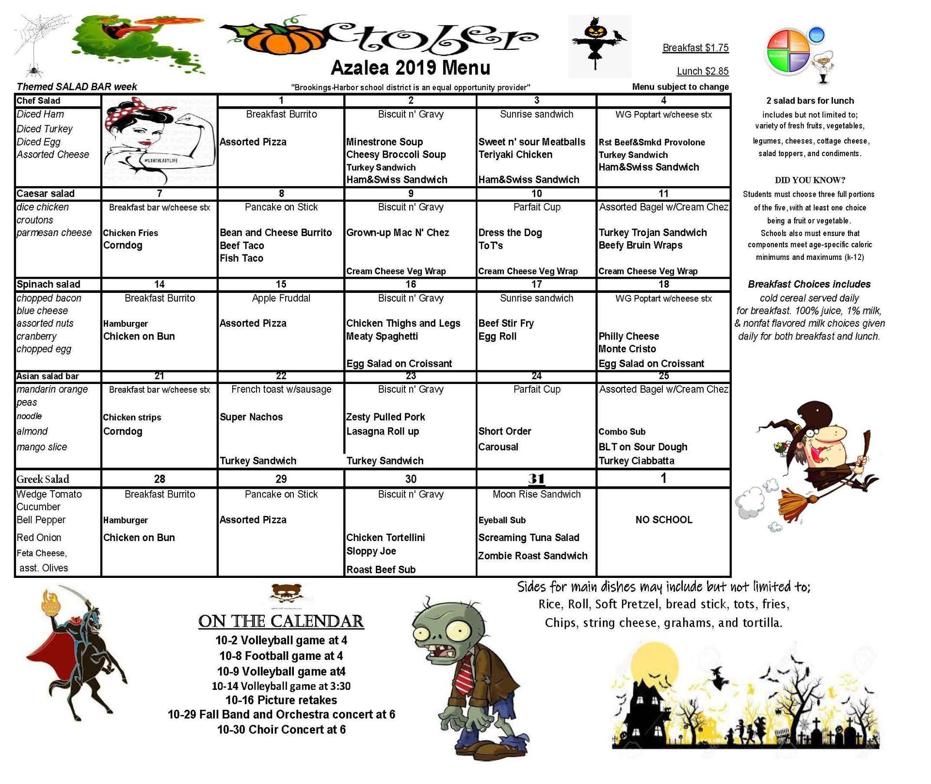 oct menus