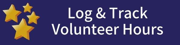 Blue background with white text saying log and track volunteer hours.