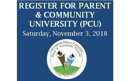 Save the date and register for Parent and Community University: Saturday, November 3 Thumbnail Image