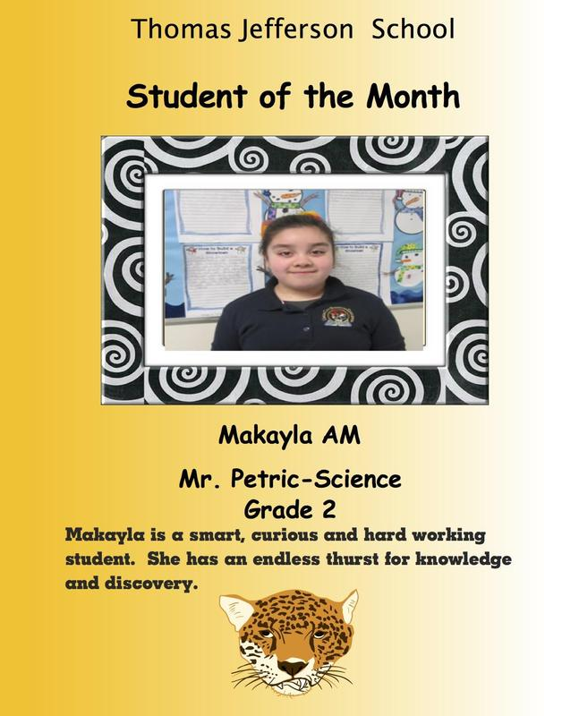 Briana A. student of the month
