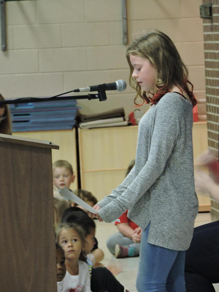 5th Grader giving speech