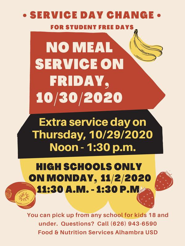 Schedule Change for Meal Services Featured Photo