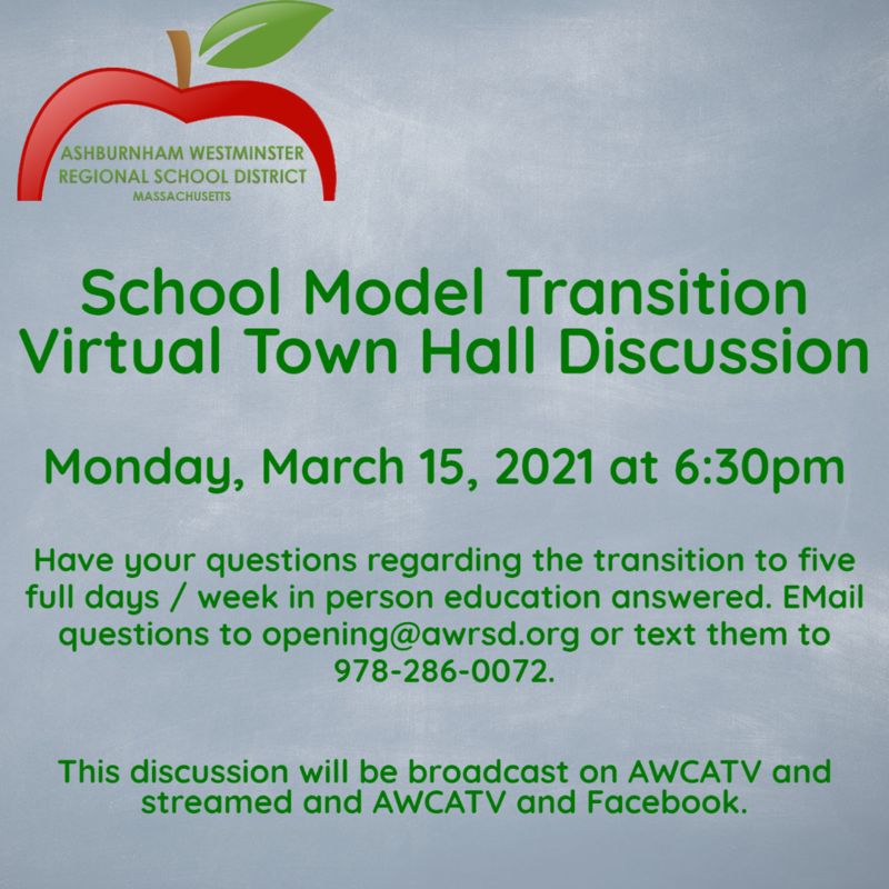 School Model Transition Virtual Town Hall Meeting 3/15/2021 Featured Photo