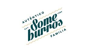 The word Someburros  Autentico Familia in lite blue color