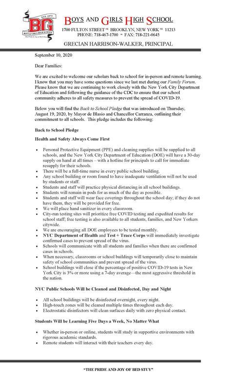 Letter to BGHS Families September 10, 2020