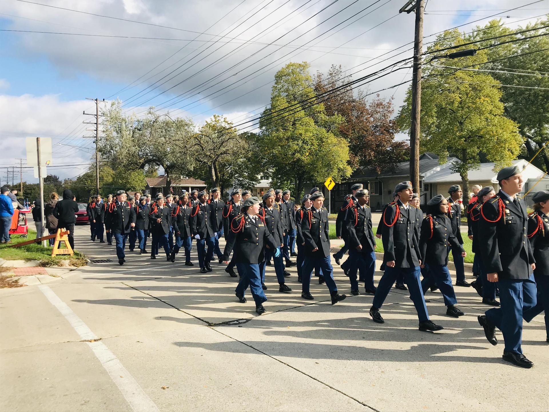 Cadets marching at the homecoming parade