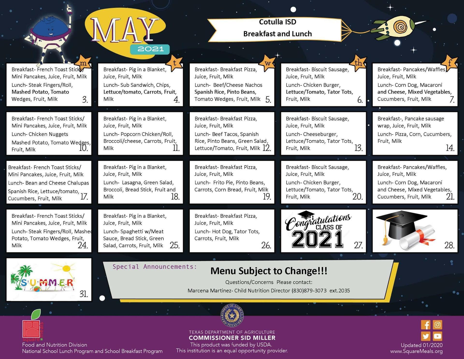 May 2021 Menu