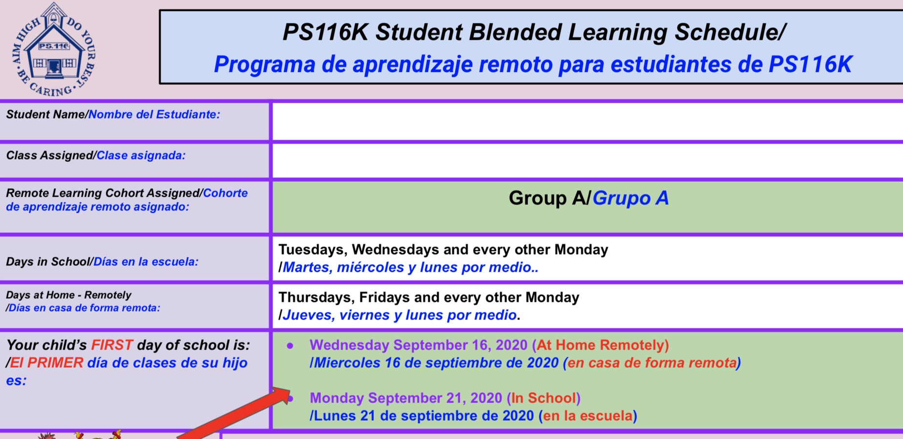Group A Learning Schedule