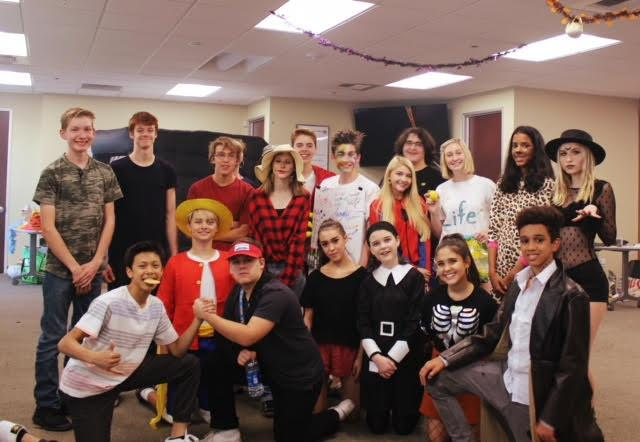 Picture of students wearing Halloween costumes