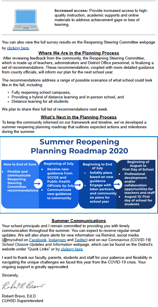 image of district's june 4th update on fall 2020 school opening process