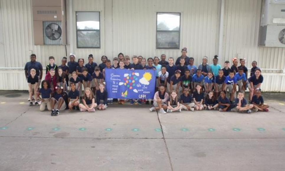 Cankton students showing their support on October 1, 2018  for Blue Shirt Day/World Bullying Prevention Day