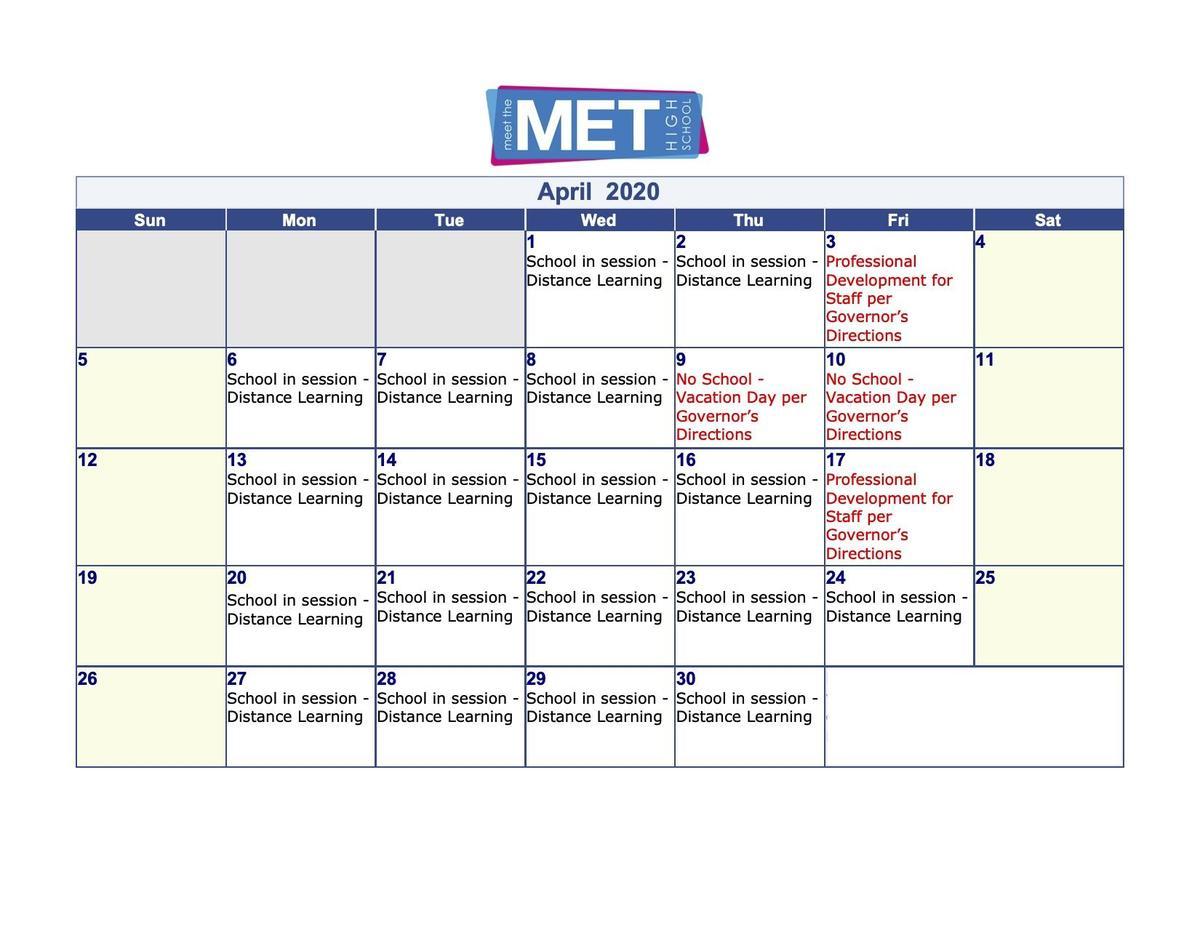 Met April Calendar
