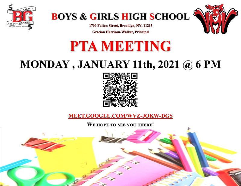 BGHS PTA Meeting -  January 11 2021 - 6PM
