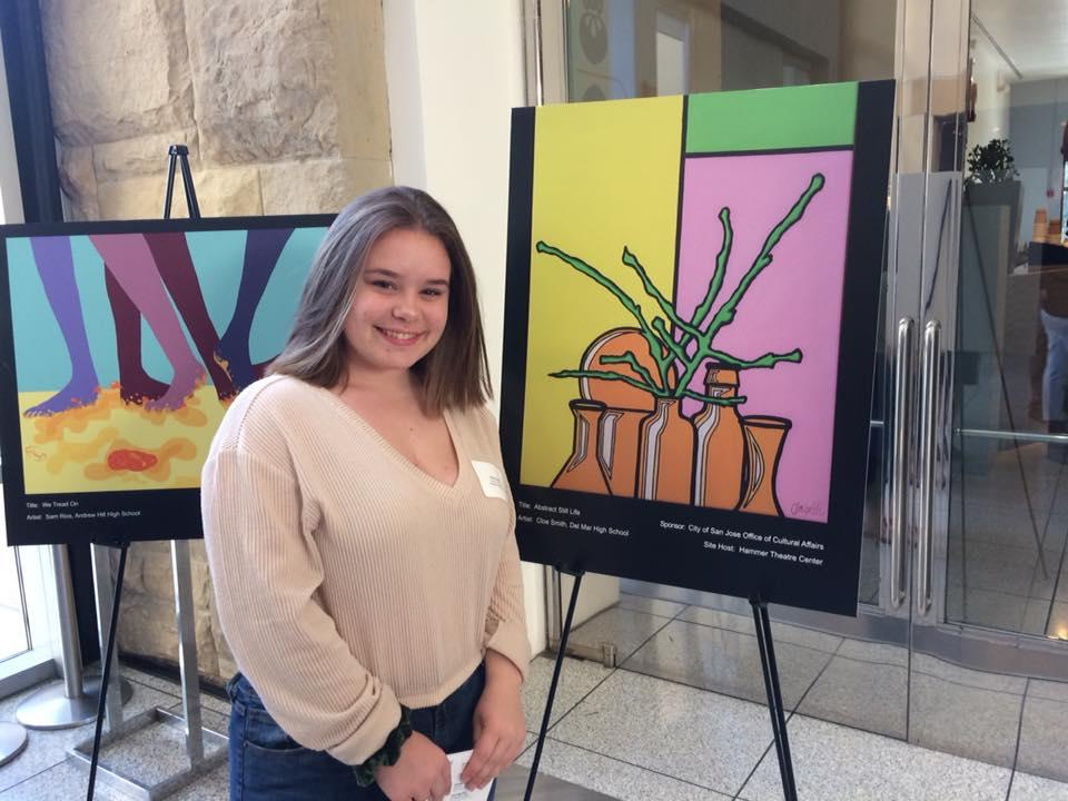 Photo of Del Mar Student, Cloe, honored at the 15th Annual Downtown Doors Reception at the San Jose Museum of Art