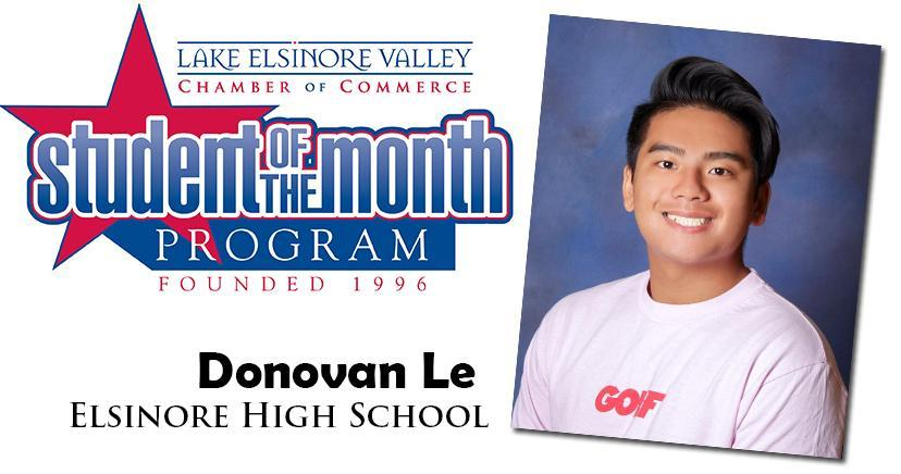 Donoval Le, EHS Student of the Month, November 10, 2020.