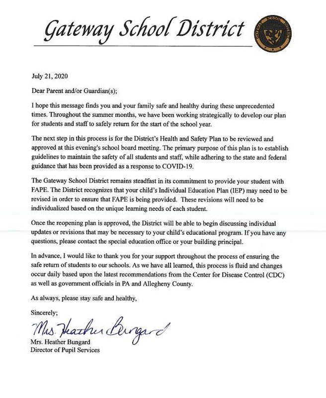 Special Services Letter