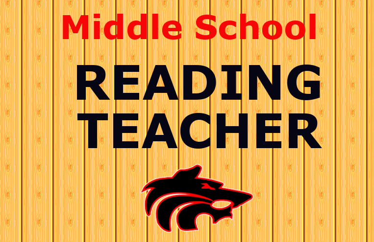 Middle School reading teacher with wolf logo