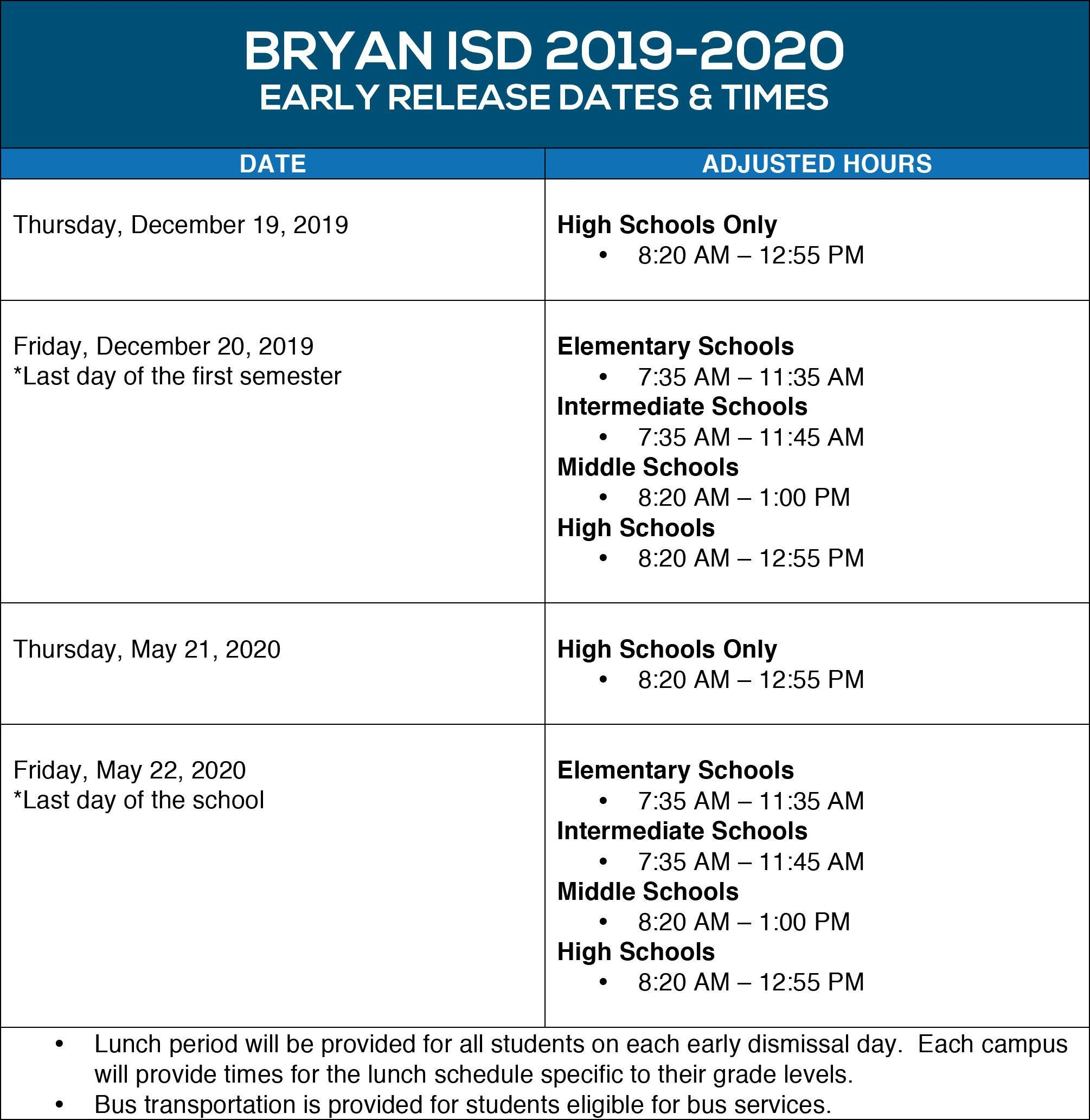 2019-2020 Early Release Schedule
