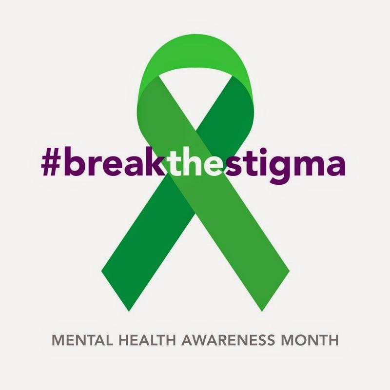 Mental Health Awareness Green ribbon with the hashtag break the stigma