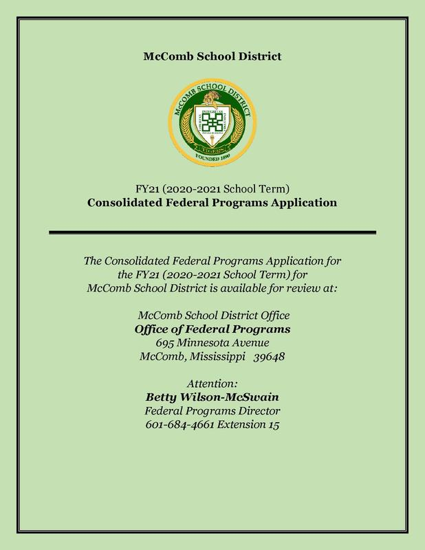 FY21 Federal Programs Application is available for review