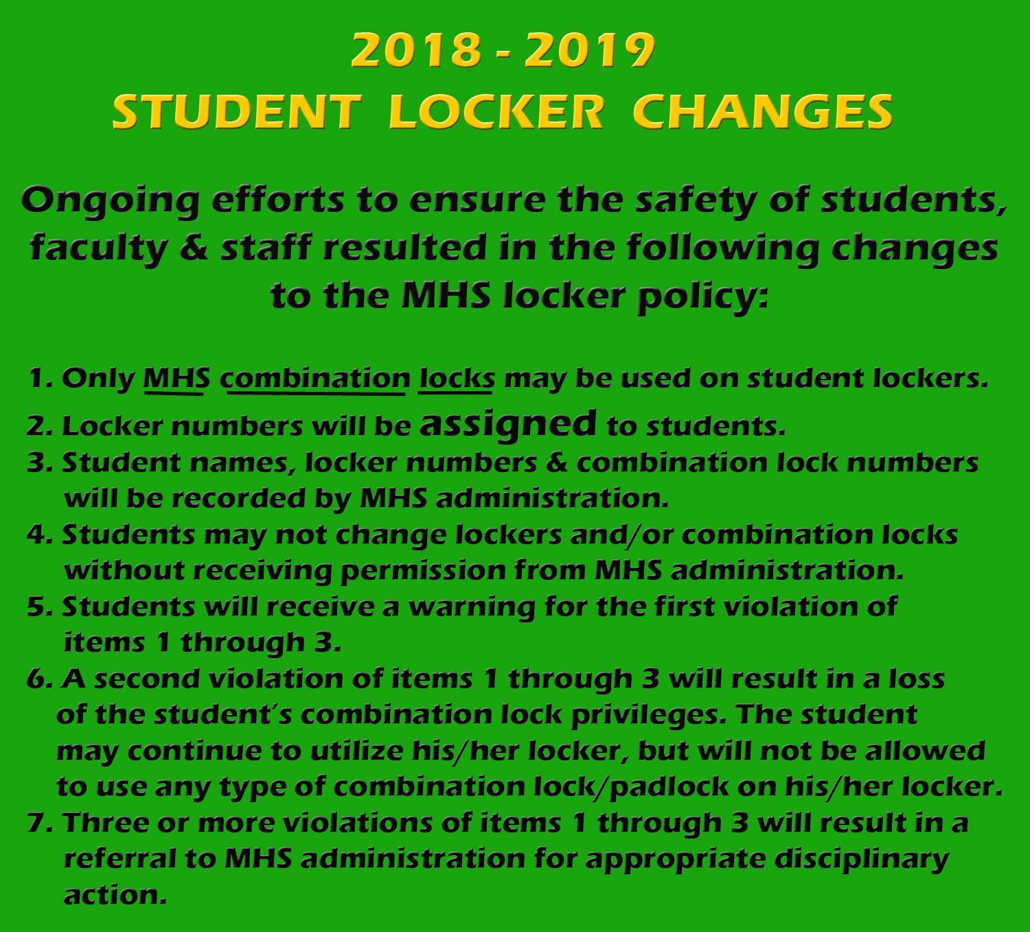 Student Locker Policy