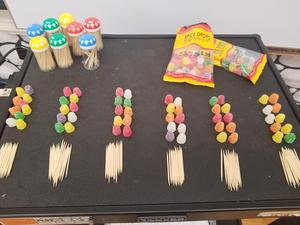 Gum drops and tooth picks for the activity