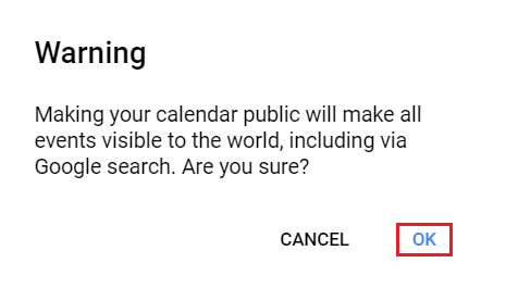 Click OK to confirm you want to make this calendar public.