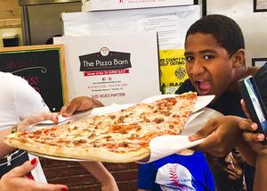 A VC student getting ready to dig into the Super Slice