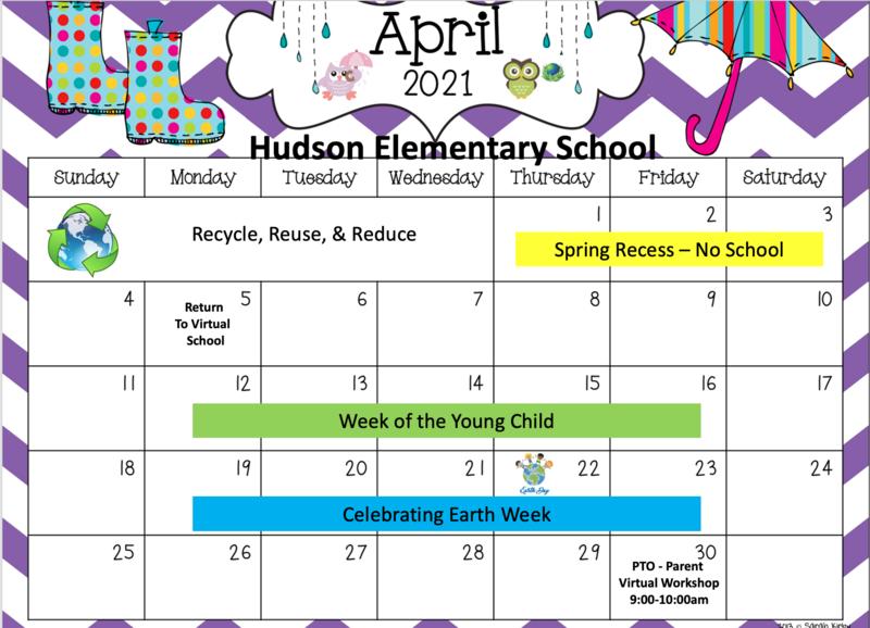 April Calendar in English