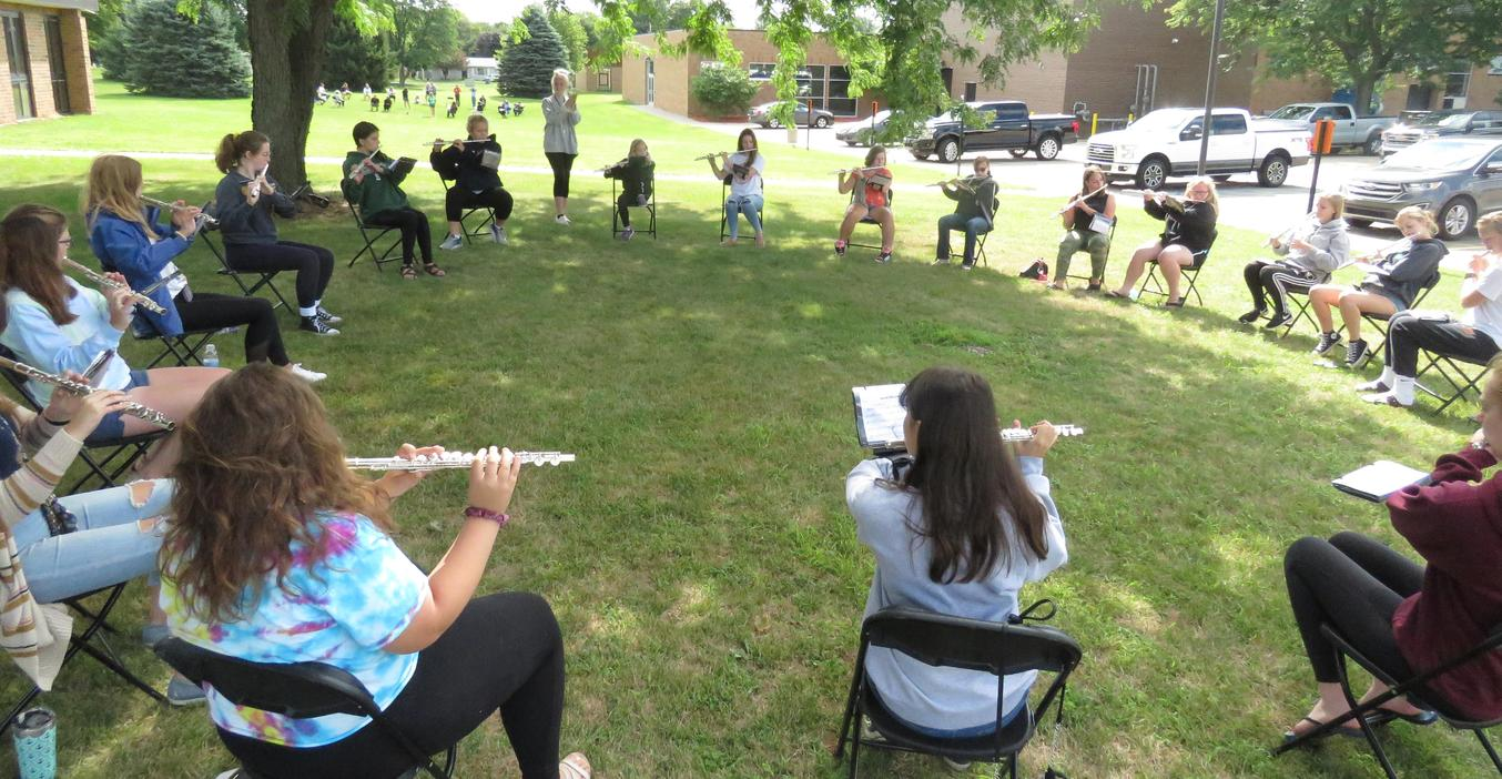 TKHS band camp was held outside with social distancing in mind.