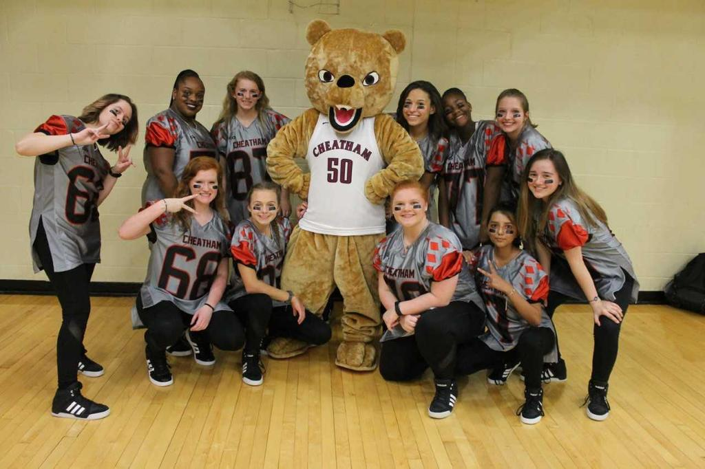 dance team with mascot
