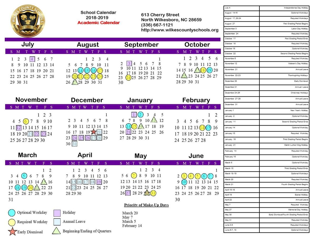 2018-19 Board-Approved Academic Calendar