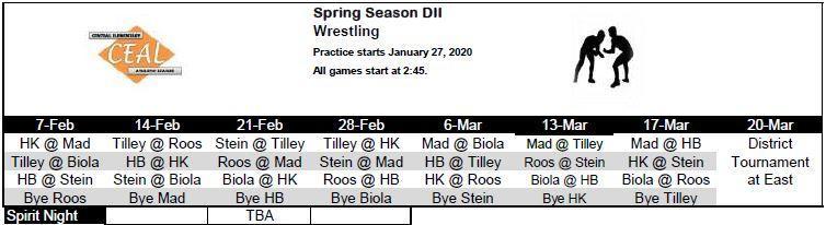 2019-2020 Wrestling Schedule