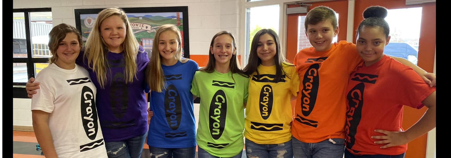 Group dressed as crayons
